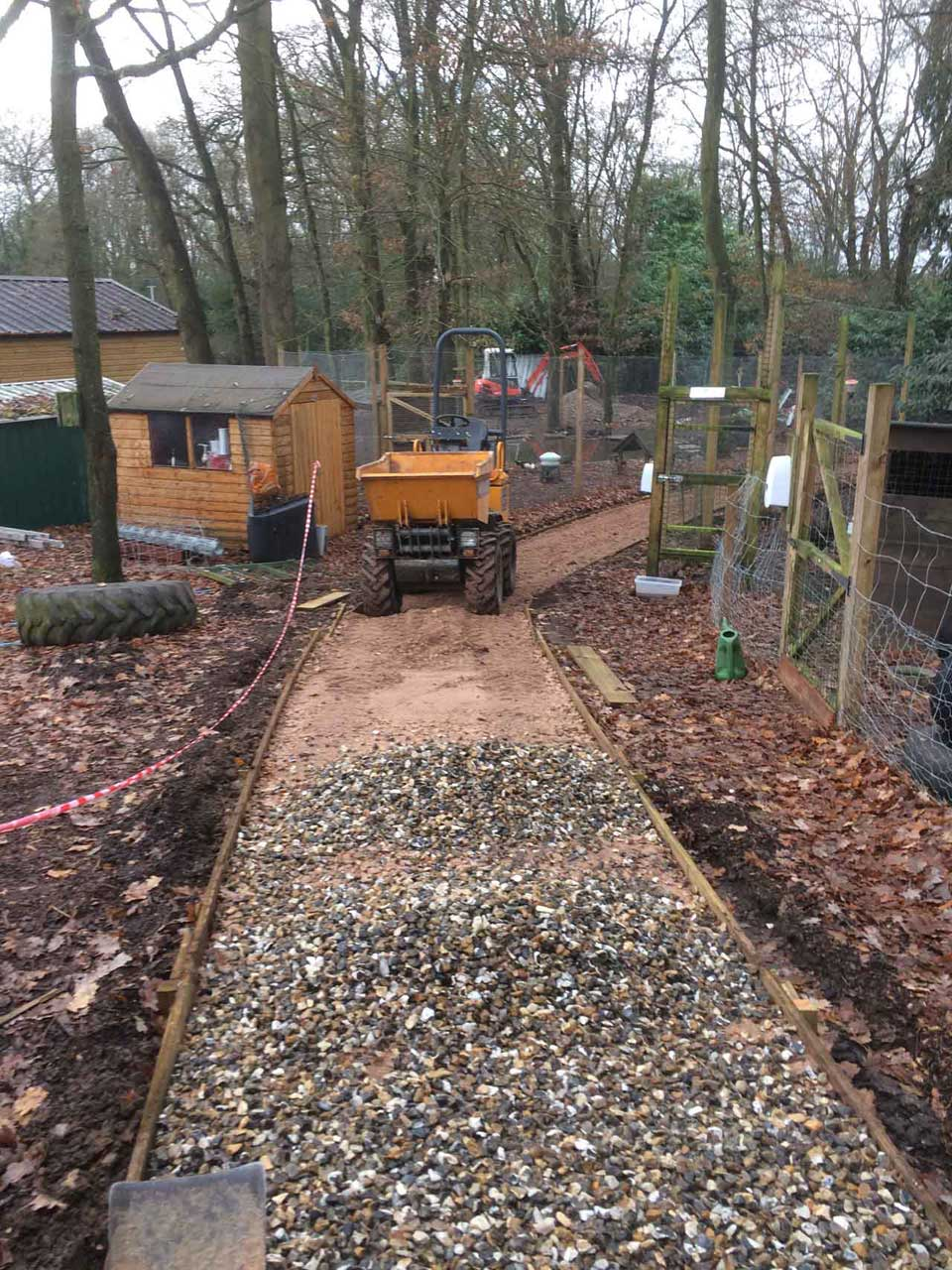 Landscaping in Wokingham at Holme Grange School Wokingham creating a new forest walk